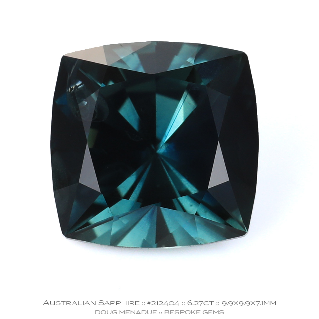 #212404, Blue Green Sapphire, Square Cushion, 6.27 Carat - Doug Menadue :: Bespoke Gems - WWW.BESPOKE-GEMS.COM - Precision Gemcutting and Lapidary Services In Sydney Australia