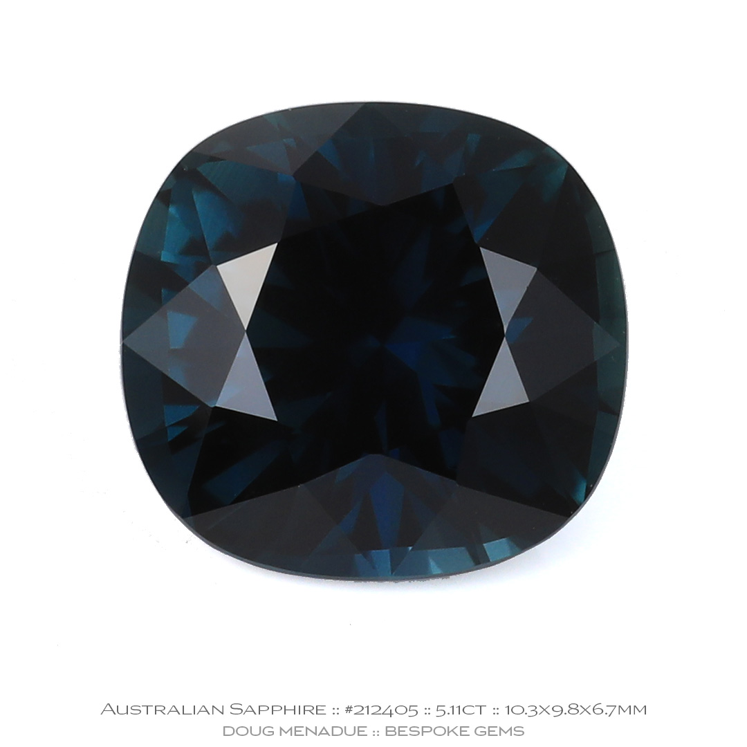 #212405, Teal Sapphire, Square Cushion, 5.11 Carat - Doug Menadue :: Bespoke Gems - WWW.BESPOKE-GEMS.COM - Precision Gemcutting and Lapidary Services In Sydney Australia