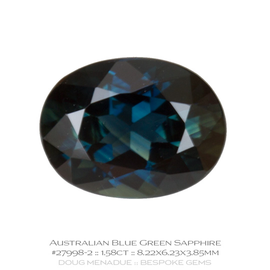 #27998-2, Blue Green Sapphire, Oval, 1.58 Carats - A beautiful natural Rubyvale, Central Queensland, Australian Sapphire - Doug Menadue :: Bespoke Gems - WWW.BESPOKE-GEMS.COM - Precision Gemcutting and Lapidary Services In Sydney Australia