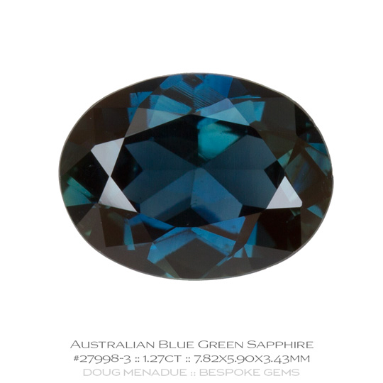 #27998-3, Blue Green Sapphire, Oval, 1.27 Carats - A beautiful natural Rubyvale, Central Queensland, Australian Sapphire - Doug Menadue :: Bespoke Gems - WWW.BESPOKE-GEMS.COM - Precision Gemcutting and Lapidary Services In Sydney Australia