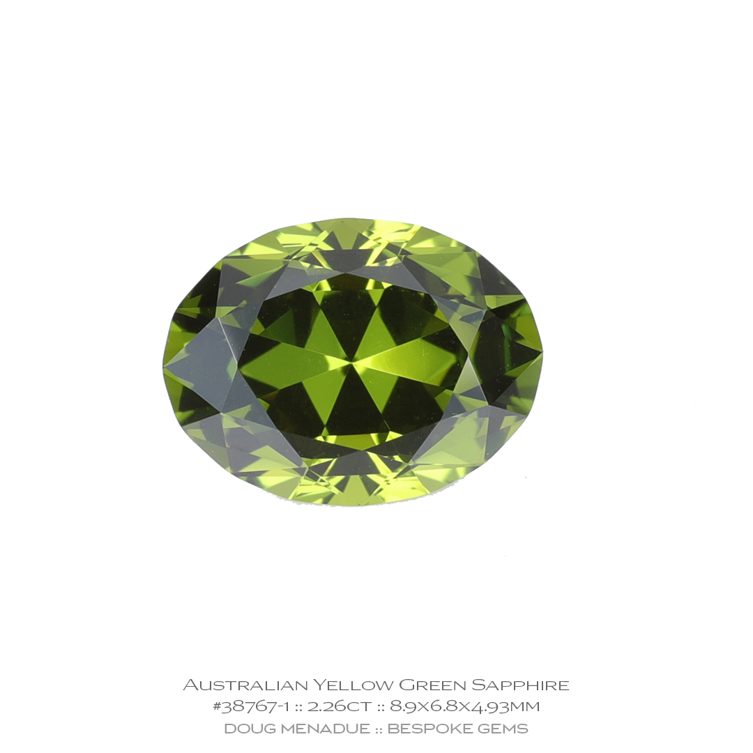 #38767-1, Yellow Green Sapphire, Supernova Oval, 2.26 Carats - Doug Menadue :: Bespoke Gems - WWW.BESPOKE-GEMS.COM - Precision Gemcutting and Lapidary Services In Sydney, Australia