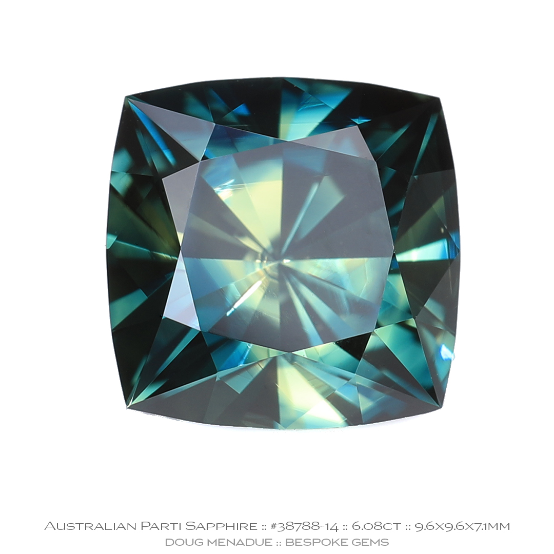 #38788-14, Yellow Blue Teal Parti Sapphire, Square Cushion, 6.08 Carats - Doug Menadue :: Bespoke Gems - WWW.BESPOKE-GEMS.COM - Precision Gemcutting and Lapidary Services In Sydney Australia