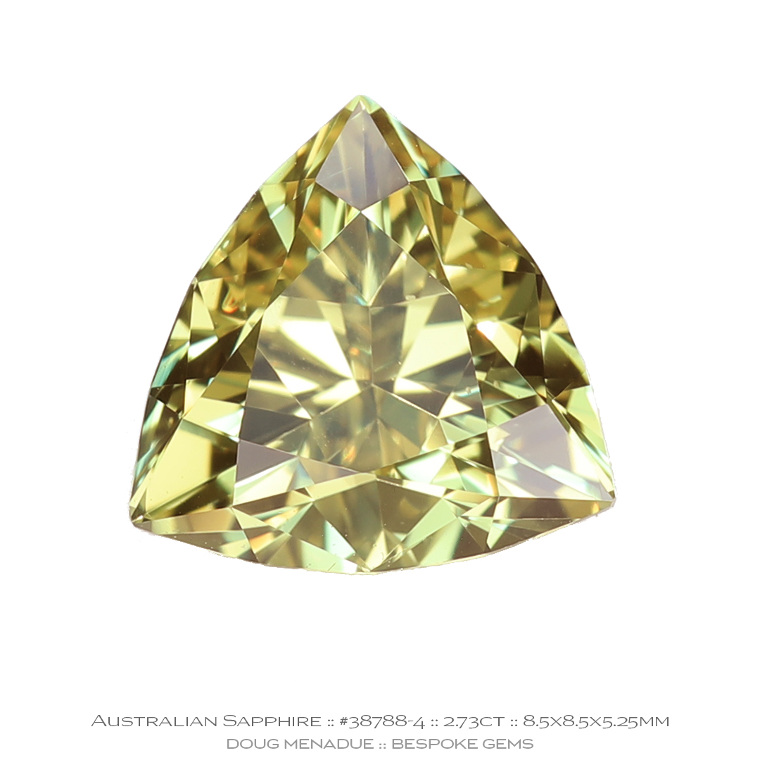 #38788-4, Light Yellow Sapphire, Trilliant, 2.73 Carats - Doug Menadue :: Bespoke Gems - WWW.BESPOKE-GEMS.COM - Precision Gemcutting and Lapidary Services In Sydney Australia